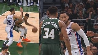 Giannis Bullies Ben Simmons With Dunk & Stares Him Down Then Simmons Gets Revenge! Sixers vs Bucks