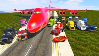 McQueen Truck Mack and Color Trucks Fly to the Race - Cars and Friends - Video for Kids & Songs