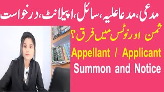 Who is Plaintiff / Defendant / petitioner / Appellant / Applicant / Respondent | Summon and Notice