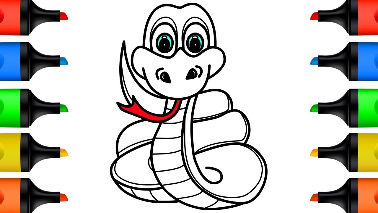How to Draw Snake Coloring Pages for Kids Learn Colors for Children