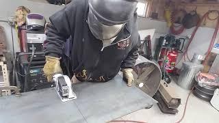 Eastwood mini metal saw cutting 10 gauge steel plate.