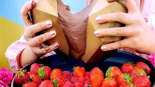 ASMR 3D GOLD CHOCOLATE HEART & STRAWBERRIES | MESSY | EATING SOUNDS
