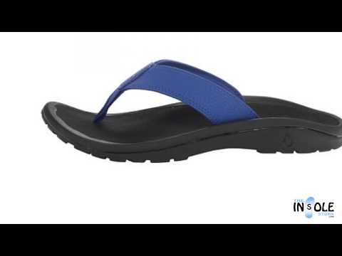 OluKai Ohana Blue Hawaiian & Black Sandals for Men @ TheInsoleStore.com