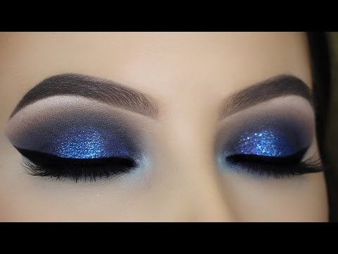 Blue Glitter Smokey Eye Tutorial