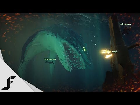 Fighting the Megalodon in Sea of Thieves