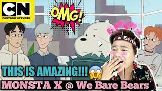 FIRST LOOK! The Bear Bros Meet MONSTA X | We Bare Bears Cartoon Network REACTION