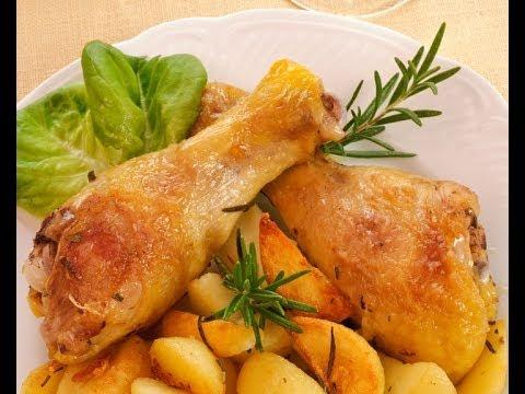 Pollo in tegame con patate fritte
