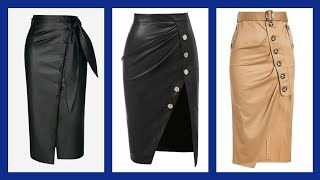 Most Trending And Gorgeous Daily Work Wear Leather Skirts Design  For Women