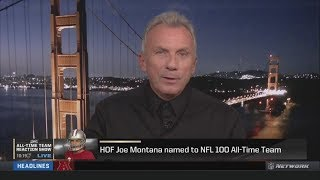 Joe Montana reacts when he, Tom Brady & Brett Favre are three of 10 QBs named to the All-Time Team