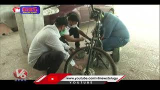 Cycle Converted Into Electric Scooter | V6 Teenmaar News