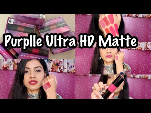 Purplle Ultra HD Matte Liquid Lipstick Swatches & Review | Purplle Liquid Lipsticks Lip Swatches