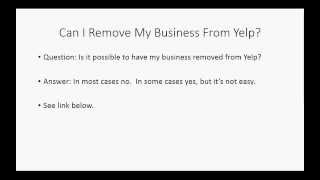 Yelp Training Course: Removing Business From Yelp