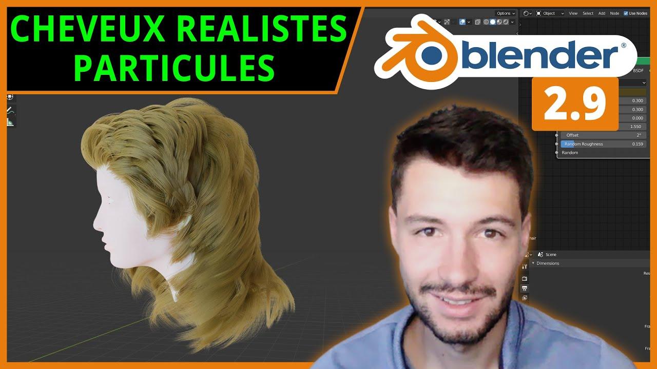 CHEVEUX RÉALISTES AVEC PARTICULES DE TYPE HAIR   Blender 2.9 [TUTO FR]
