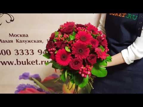 Букет из гербер и роз «Страстный поцелуй»