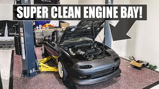 Little Sister's Miata Build: SUPER CLEANING the Engine Bay! by Evan Shanks