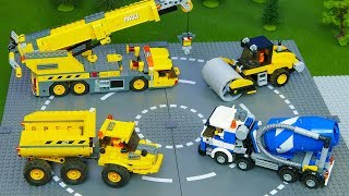 Lego Bulldozer, Concrete Mixer,  Dump Truck, Mobile Crane, Tractor, Excavator Build Garage Blocks