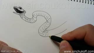 Змея гелевой ручкой.