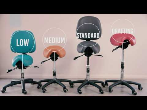 Low Medium Standard & Drafting Bambach Saddle Seat Ergonomic Range