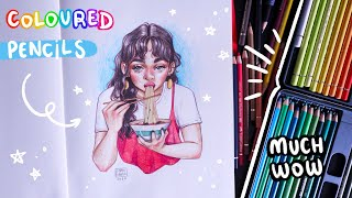 How I Draw With Coloured Pencils // Step-by-Step