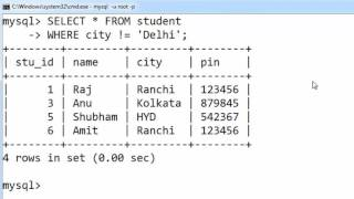 24. WHERE Clause and Not equal operator in SQL (Hindi)