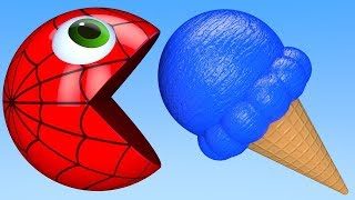 Learn Colors with PACMAN and IceCream SuperHero Watermelon Street Vehicle Farm for Kid