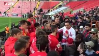 О чём говорили фанаты Спартака с футболистами после матча с Мордовией