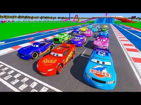 Lightning McQueen Danny Swervez Cal Weather Chick Hicks Doc Hudson &Friends Race Cars Video for Kids