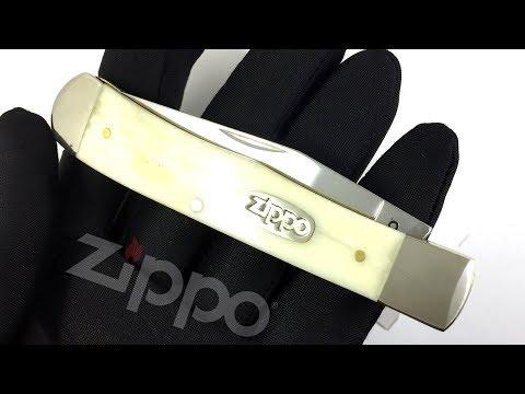 50545 Нож перочинный Zippo Smooth Natural Bone Trapper, 105 мм, цвет слоновой кости