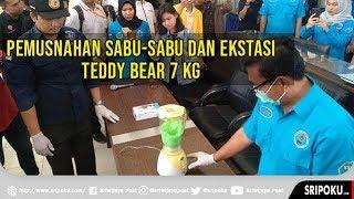 BNNP Sumsel Lakukan Pemusnahan 7 Kg Sabu dan Ekstasi Teddy Bear