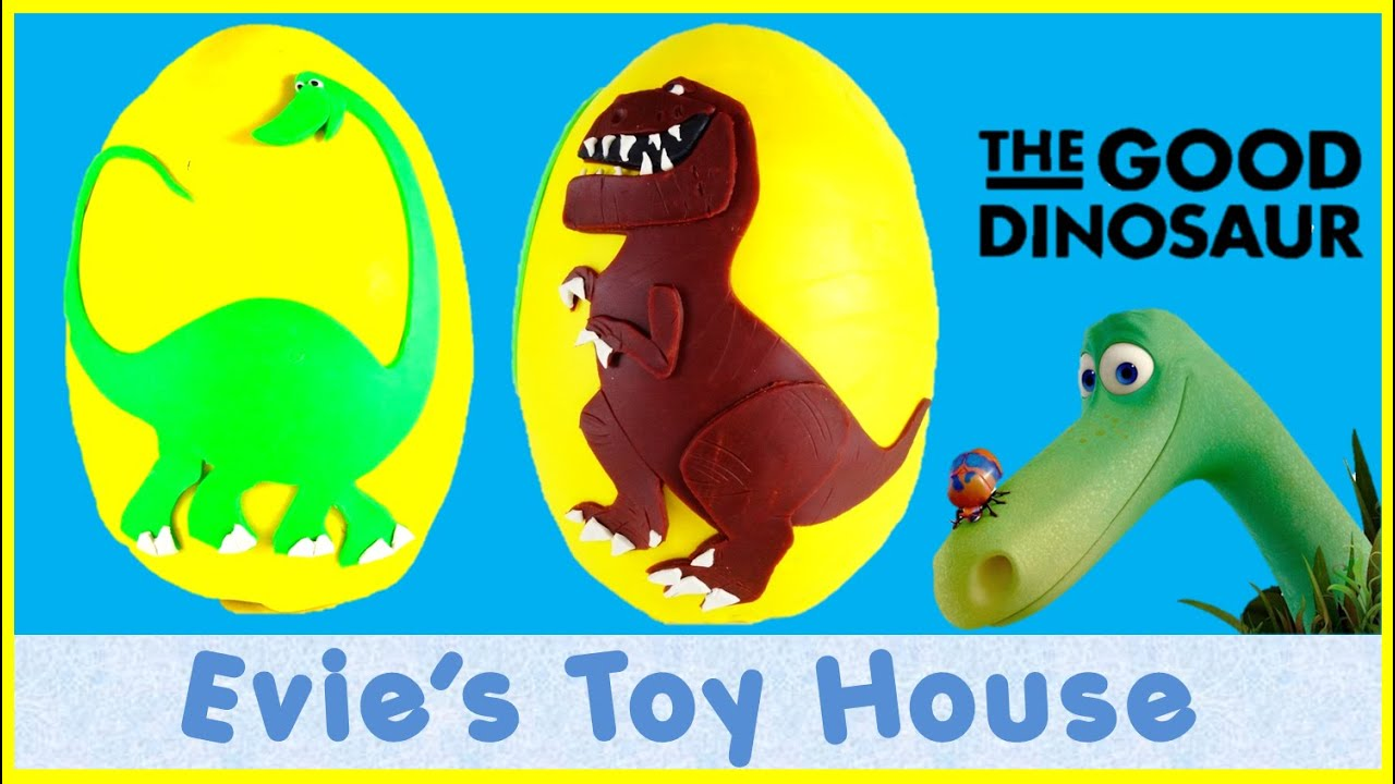 Giant Play-doh Surprise Egg THE GOOD DINOSAUR Disney Pixar | Evies Toy House