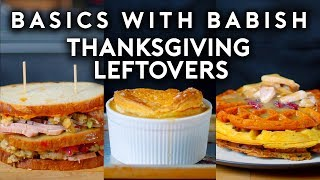"Enter offer code ""Babish"" at Squarespace.com for 10% off your first purchase, or visit: http://smarturl.it/BWBsquarespace  I'm not one for Instagram food hacks, but turning your Thanksgiving leftovers into waffles, sandwiches, and pot pies is pretty awesome.  Ingredients: + Leftovers, like turkey, sweet potatoes, mashed potatoes, mixed veggies, cranberry sauce, and gravy + Egg and puff pastry (if making pot pies) + Egg and cheese (if making waffles) + White bread (if making sandwiches)  For full recipes, visit: https://basicswithbabish.co/basicsepisodes/thanksgivingleftovers  Music: ""From the Top"" Blue Wednesday https://soundcloud.com/bluewednesday"