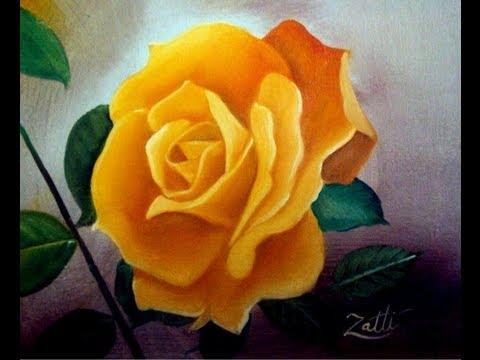 Rosa a óleo sobre tela