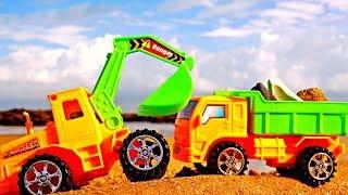 Мультики для Детей. Грузовик и Экскаватор собирают камешки на Пляже