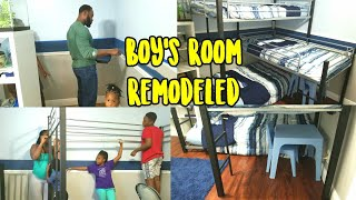Remodeling Our Boys Room Featuring The Turner Modern Triple Twin Bunk Bed