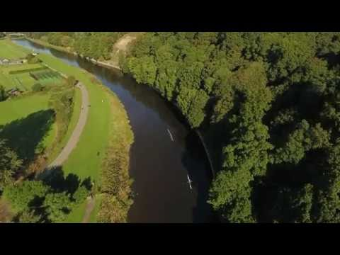 Rowing on the River Wear, Durham, UK. DJI Phantom 4 Drone Footage.