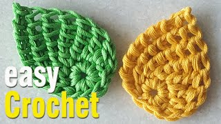 Crochet: How To Crochet Tunisian Leaf For Beginners. Free Leaf Pattern.