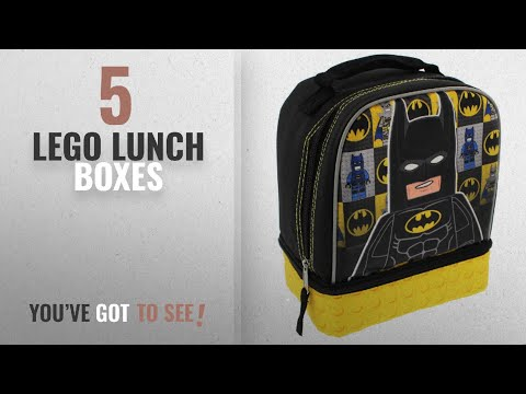 Best Lego Lunch Boxes [2018]: Lego Batman Dual Compartment Soft Lunch Box (Black/Yellow)