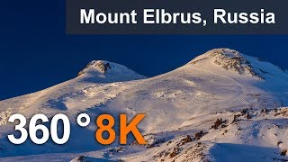 360 video, Journey to Elbrus Mountain, Russia. 8K aerial video