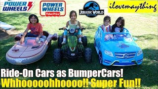 12 Volts Ride-On Power Wheels as Bumper Cars! Ride-On Toys Playtime Fun! Disney Frozen