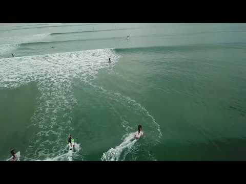 Overhead view of lineup and surfers at Point Roadknight