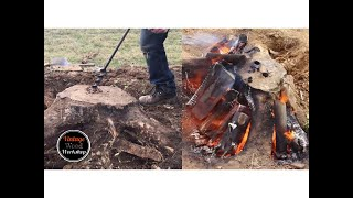 HAND TOOLS + FIRE = STUMP REMOVAL FUN!
