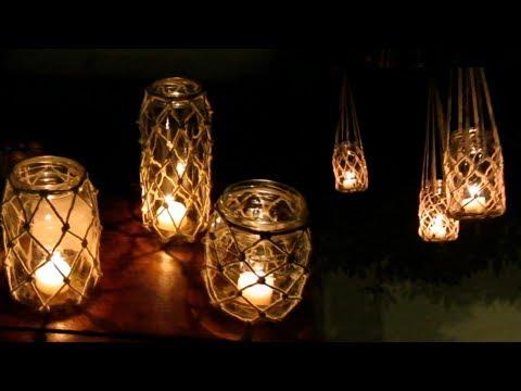 Porta velas em Macramê