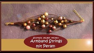 Schmuck selber machen: Armband Strings mit Perlen