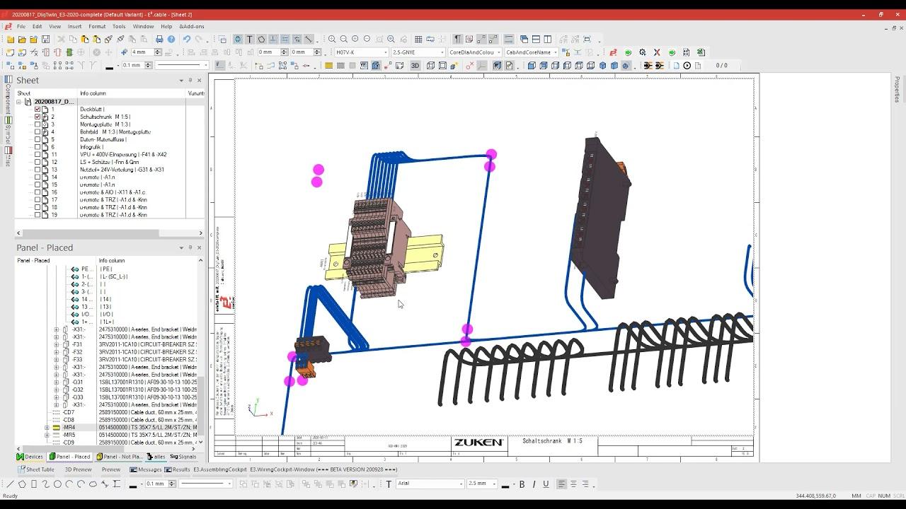 10. Export von Informationen zur automatisierten Produktion von Sequenzbündeln und Klemmleistenverdrahtung