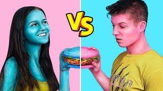 สุดท้ายที่จะหยุดกินความท้าทายด้านอาหารสี / 24 ชั่วโมง สีฟ้า vs ความท้าทายอาหารสีชมพู