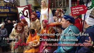 preview picture of video 'Southend-on-Sea Christmas Flashmob halts shopping frenzy with real meaning of Christmas'