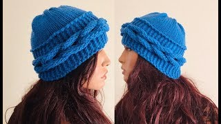 How to Knit a Braided Beanie Hat Pattern #905│by ThePatternFamily