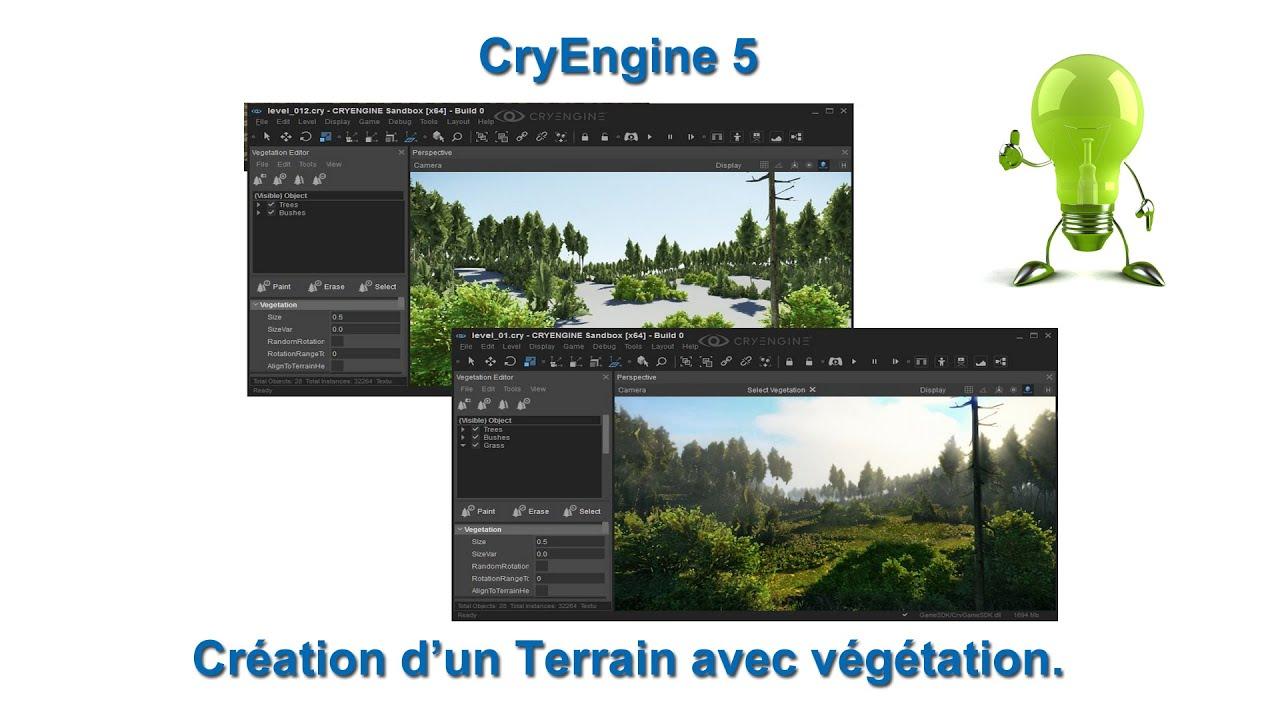 CryEngine 5 Création d'un terrain avec végétation