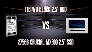 """Crucial MX300 275GB 2.5"""" SATA SSD CT275MX300SSD1 Vs 1TB Western Digital 2.5"""" HDD WD10JPLX"""
