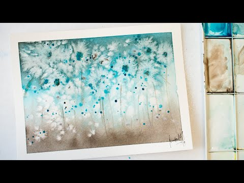 Watercolor abstract flowers painting using SALT - timelapse with annotations